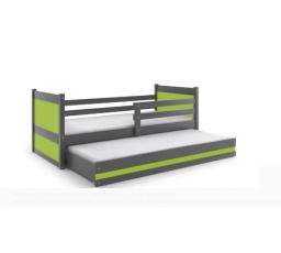 Postel z masivu pro 2 děti RICO 2 - Grafit/Zelená