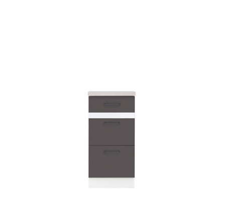 Junona Line, šuplíková skříňka D3S/40/82, bílá/šedý wolfram