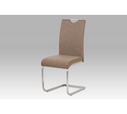 Jídelní židle látka cappuccino + koženka cappuccino / broušený nerez