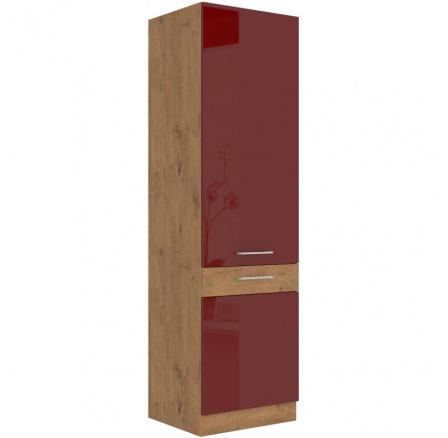 Kuchyňská potravinová skříň Vega 60DK210-2F dub lancelot/bordo lesk