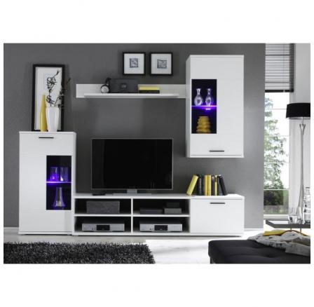 Obývací stěna FRONTAL 1 s osvětlením, bílá