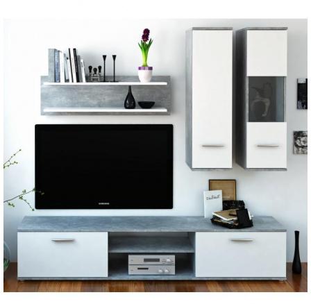 Obývací stěna WAW beton / bílá