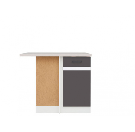 Kuchyně Junona Line, spodní rohová skříňka DNW/100/82L, bílá/šedý wolfram