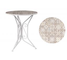Zahradní stůl, deska z keramické mozaiky, kovová konstrukce, bílý matný lak (typově k židli US1001)