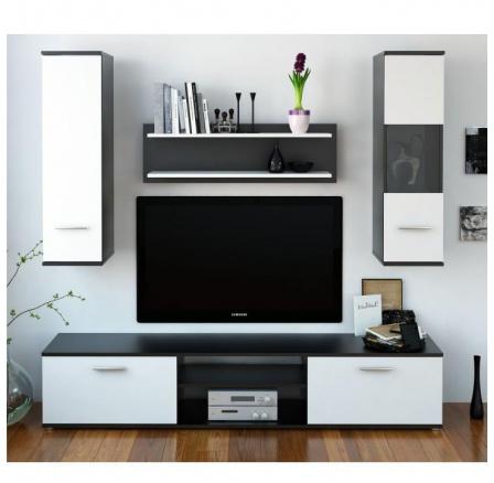 Obývací stěna WAW černá / bílá