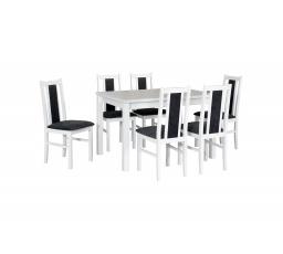 """MILENIUM- jídelní set stůl+6 židlí (MaxV+Boss XIV ) bílá/látka 8 tmavě šedá - kolekce """"DRE"""" (DM) (K150)"""