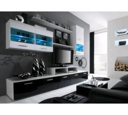 Obývací stěna LOGO II - bílá-černá