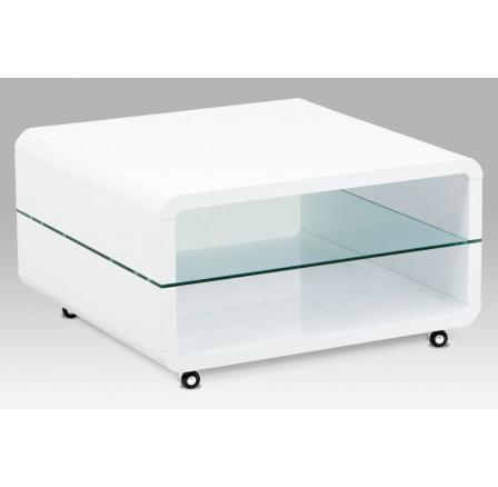 (AHG-015 WT) Konferenční stolek 80x80x40, MDF bílý vysoký lesk, čiré sklo, 4 kolečka